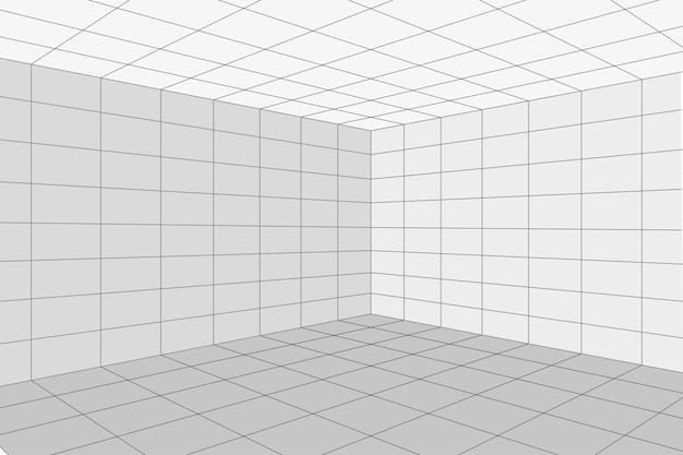 회색 와이어프레임 배경이 있는 격자 원근감 흰색 방 모서리입니다. 디지털 사이버 박스 기술 모델. 벡터 추상 건축 템플릿