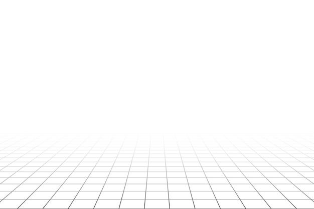 회색 와이어프레임 배경이 있는 격자 원근감 흰색 방 바닥입니다. 디지털 사이버 박스 기술 모델. 벡터 추상 건축 템플릿