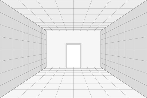 문이 있는 격자 원근 흰색 방입니다. 회색 와이어 프레임 배경입니다. 디지털 사이버 박스 기술 모델. 벡터 추상 건축 템플릿