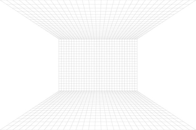 회색 와이어프레임 배경이 있는 격자 원근 흰색 방입니다. 디지털 사이버 박스 기술 모델. 벡터 추상 건축 템플릿