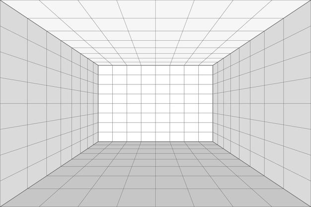 회색 와이어프레임 배경이 있는 격자 원근감 흰색 방입니다. 디지털 사이버 박스 기술 모델. 벡터 추상 건축 템플릿