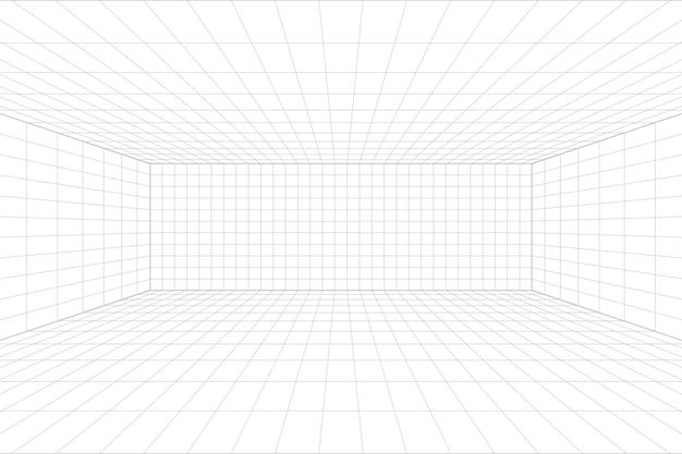 Сетка перспективы белая комната с серым фоном каркаса. цифровая модель технологии кибер-бокса. вектор абстрактный архитектурный шаблон