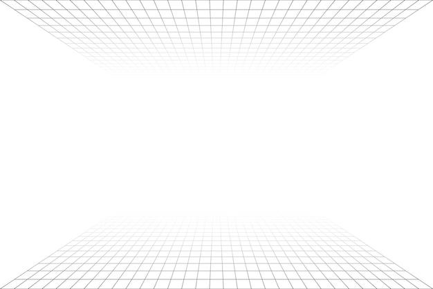 회색 와이어프레임 배경이 있는 격자 원근감 흰색 방입니다. 바닥 및 셀링. 디지털 사이버 박스 기술 모델. 벡터 추상 건축 템플릿