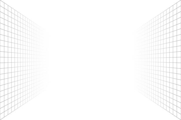 회색 와이어프레임 배경이 있는 격자 원근 흰색 방입니다. 바닥과 셀링이 없습니다. 디지털 사이버 박스 기술 모델. 벡터 추상 건축 템플릿