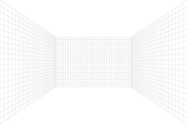 회색 와이어프레임 배경이 있는 격자 원근감 흰색 방입니다. 바닥과 셀링이 없습니다. 디지털 사이버 박스 기술 모델. 벡터 추상 건축 템플릿