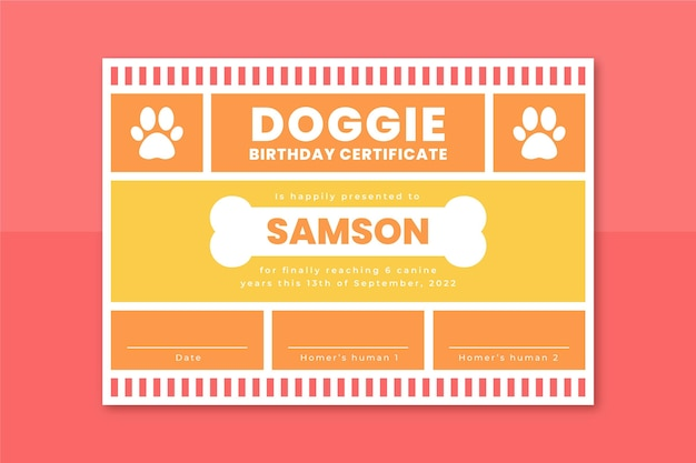 Grid pets certificate template