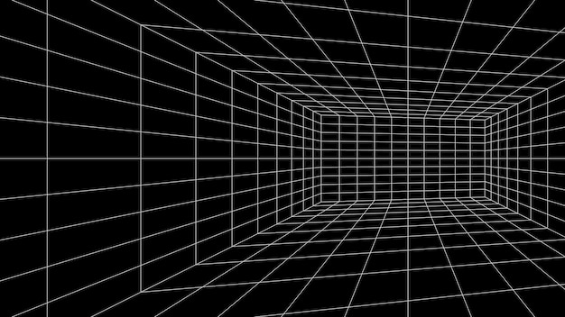 Grid room 3d perspective black background virtual reality construction interior design