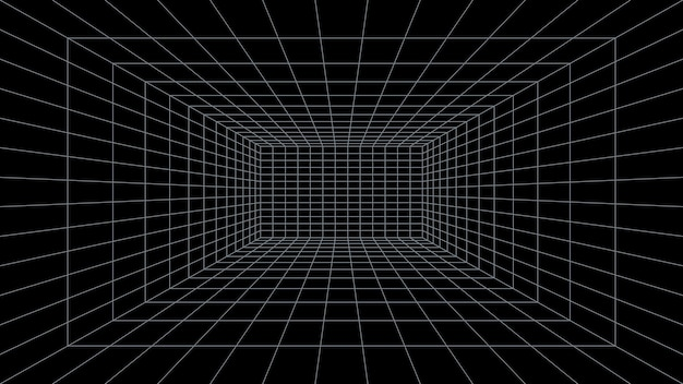 Grid room 3d perspective black background virtual reality interior design and template