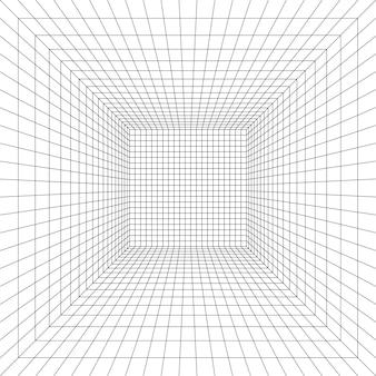 Сетка комната в перспективе в 3d стиле внутренний каркас из внутренней квадратной пустой коробки шаблона