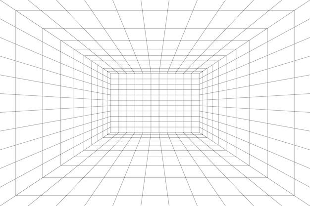 Сетка комната в перспективе векторные иллюстрации в 3d стиле внутренний каркасный шаблон интерьер коробки