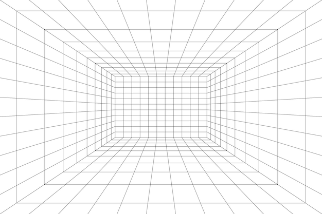 Grid room in perspective vector illustration in 3d style indoor wireframe template interior box