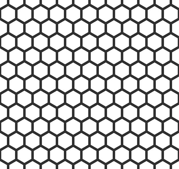 그리드 완벽 한 패턴입니다. 육각형 셀 질감, 벌집 메쉬 배경, 스피커 그릴 배경. 벡터