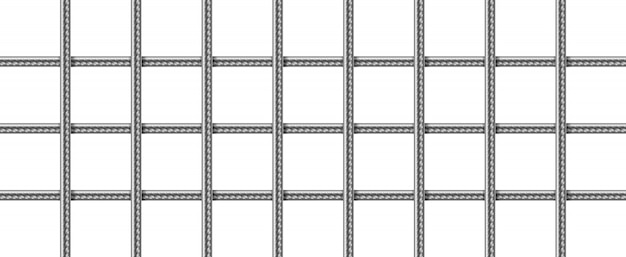 Grid of steel rebars, welded metal wire mesh
