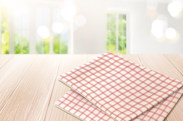 Grid tablecloth on wooden table and bokeh indoor in 3d illustration