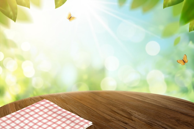 Grid tablecloth on wooden table and bokeh nature in 3d illustration