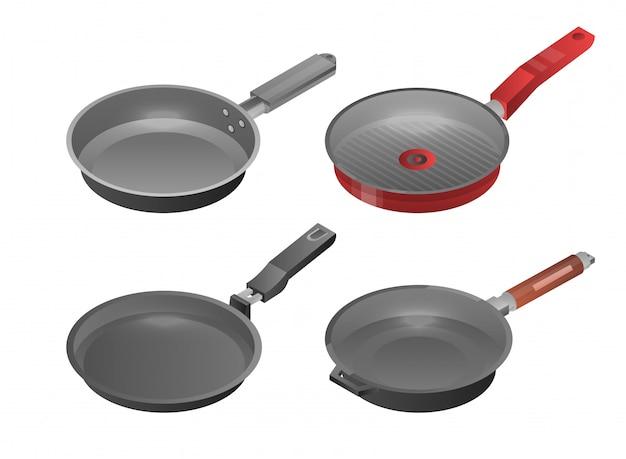 Сковорода griddle набор иконок. изометрические набор сковородку сковороду векторные иконки для веб-дизайна на белом фоне