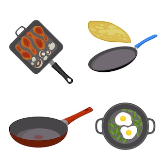 Griddle pan icon set