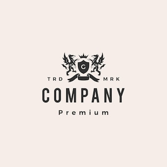 Griffin coat of arms hipster vintage logo template