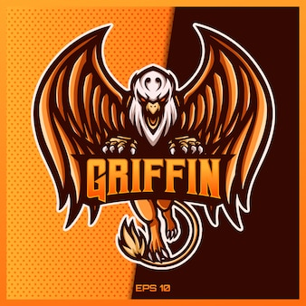 Griffin eagle esport and sport mascot logo design in modern illustration concept for team badge, emblem and thirst printing. griffin eagle illustration on yellow gold background. illustration