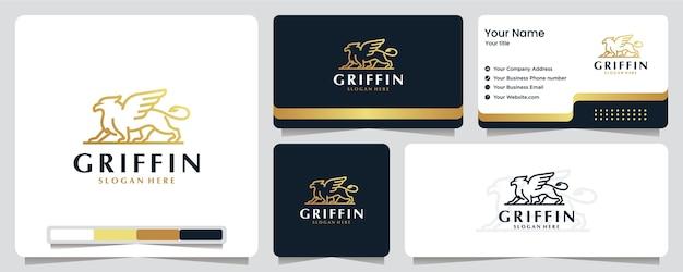 グリフィン、ワシ、翼、ライオン、ゴールドカラー、バナー、名刺、ロゴのデザイン