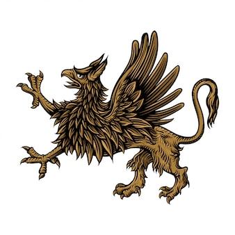 Griffin рисованной иллюстрации стиля гравировки