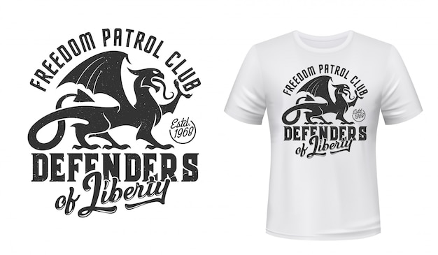 Griffin t-shirt print mockup, defender patrol club