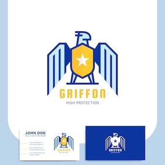 Griffon shield logo design for security company with business card