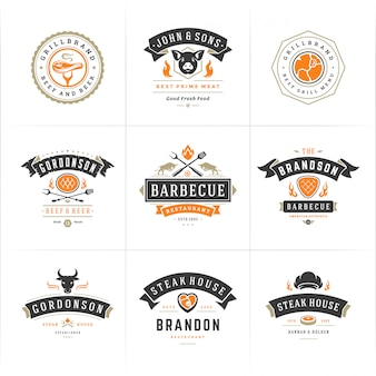 그릴과 바베큐 로고는 바베큐 음식 실루엣으로 스테이크 하우스 또는 레스토랑 메뉴 배지를 설정합니다.