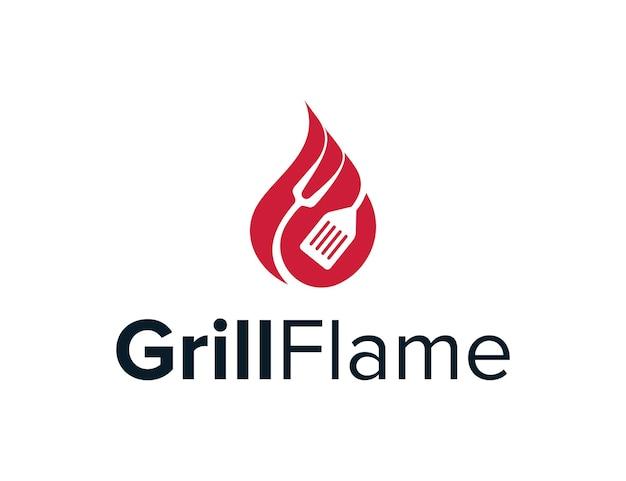 Гриль и огонь пламя простой гладкий креативный геометрический современный дизайн логотипа
