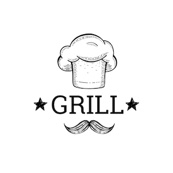Grill and babecue sketch logo with chef hat and mustache.