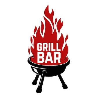 グリルバー。火とバーベキューのイラスト。ロゴ、ラベル、エンブレム、サイン、バッジの要素。画像