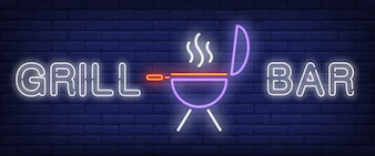 Grill bar neon style banner