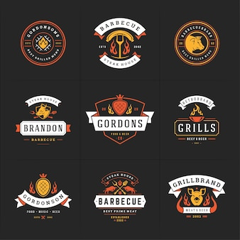 Grill and barbecue logos set illustration