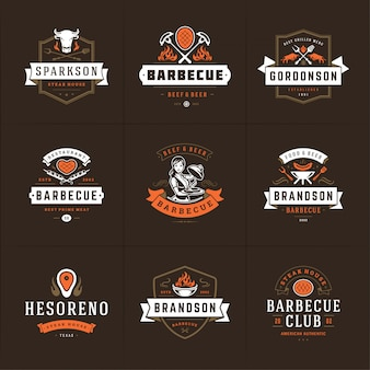 Grill and barbecue logos set   steak house or restaurant menu badges with bbq food silhouettes