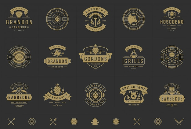 Grill and barbecue logos set