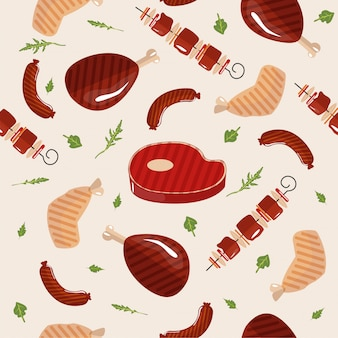 Grill barbecue meat seamless pattern