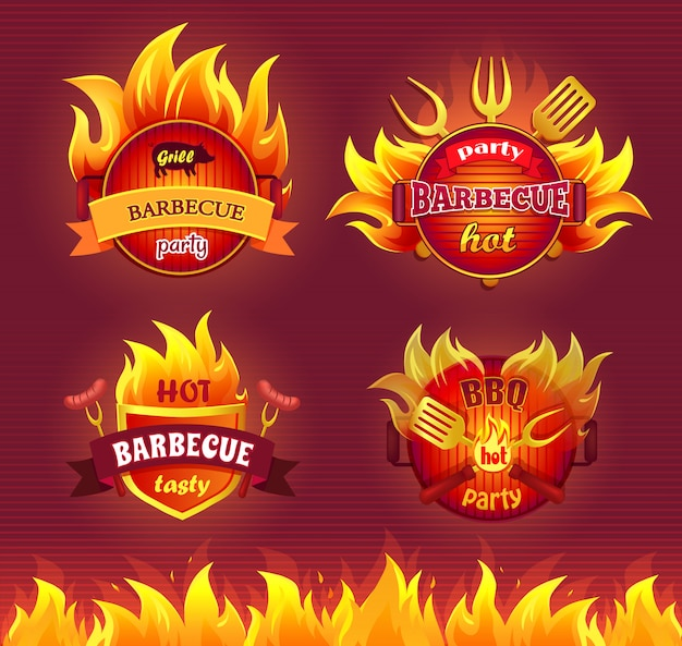 Grill barbecue party hot badge set