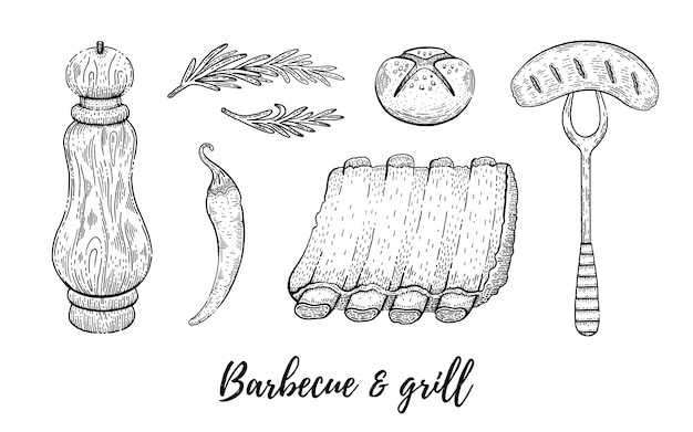 Grill and barbecue reataurant menu sketch set.