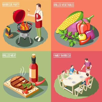Grill bbq party isometric concept with different serving examples for barbecue food with people
