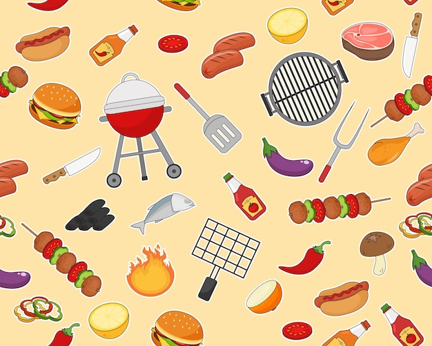 Grill and bbq seamless pattern
