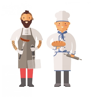 Grill chef and baker two men of character vector illustration.