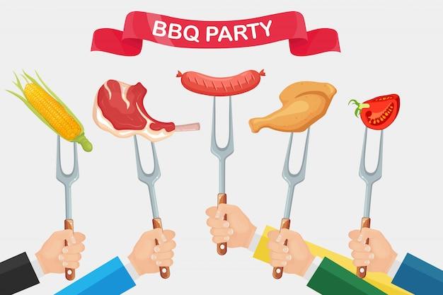 Гриль горячая куриная ветчина, колбаса, говяжьи ребрышки, стейк с вилкой в руке, изолированные на белом фоне.