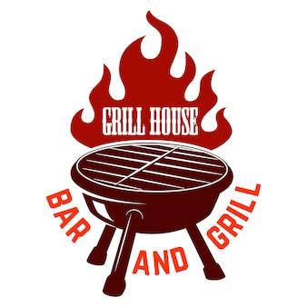 グリルハウス。火でバーベキューのイラスト。ロゴ、ラベル、エンブレム、記号の要素。画像