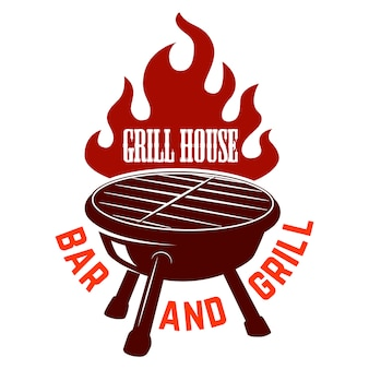 Grill house. bbq illustration with fire.  element for logo, label, emblem, sign.  image