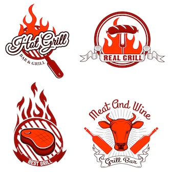 Grill labels and emblems.