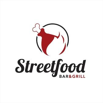 Гриль логотип простое жареное мясо и бар