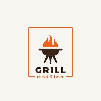 Grill meat restaurant logo isolated on white