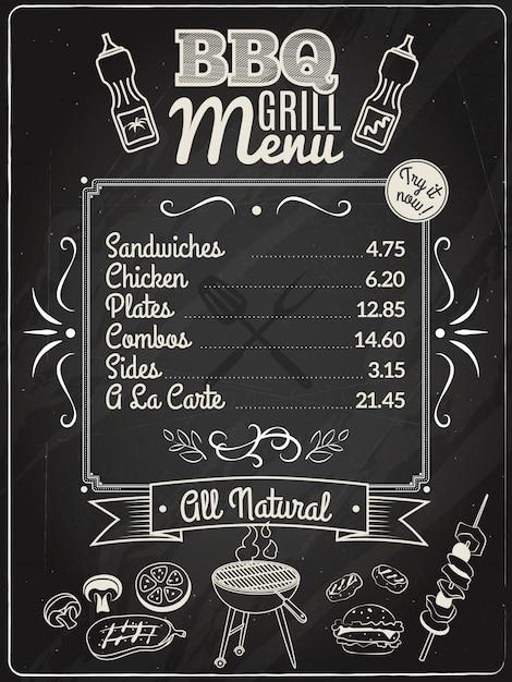 Free Grill Menu Chalkboard SVG DXF EPS PNG - Download Cut