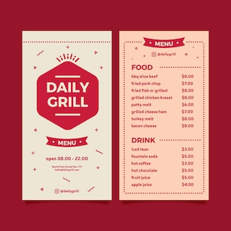 Grill menu template for restaurant