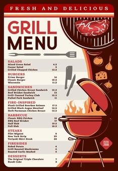 Grill menu with bbq food template